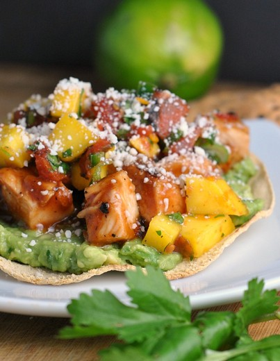 BBQ Margarita Chicken Tostadas with Sweet Jalapeno Salsa