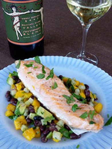 Honey Lime Baked Wild Salmon with Mango & Black Bean Salsa