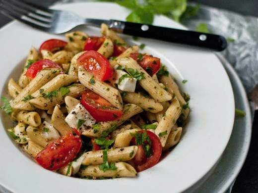 Penne with Salsa Verde, Mozzarella, and Cherry Tomatoes