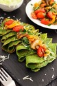 Spinach Crepes with Pan-Roasted Vegetables
